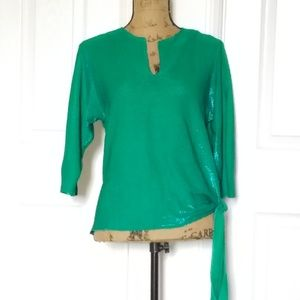 Shimmery 80s top, side knot...green/blue